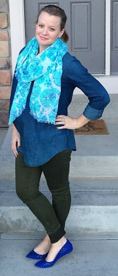 Sweet Bananie [4.16.16] ombre chambray, olive skinnies, cobalt flats + teal printed scarf #maternitystyle