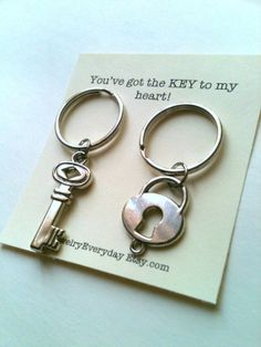Key and Lock Keychain Set Couple Key Ring Gift, Husband and Wife, Girlfriend and Boyfriend, You've got the key to my heart, Monogram Initial Option, Valentines Day Gift Ideas, Cards