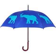 The San Francisco Umbrella Company Elephant Walking Stick Umbrella -... (1.435 RUB) ❤ liked on Polyvore featuring accessories, umbrellas, blue, elephant umbrella and blue umbrella