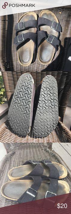 Birkenstock Arizona men's (women's) black sandals Two strap black suede sandals regular width leather, cork footbed, well broke in, size 40 ( women's 9-9/12. men's 7-71/2 Birkenstock Shoes Sandals & Flip-Flops