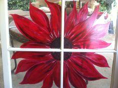 Red sunflower painted window pane