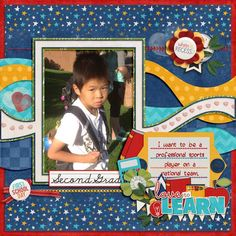 First School Day - Second GradeLissyKay Designs - Catch A Wave Templates http://store.gingerscraps.net/Catch-a-Wave-by-LissyKay-Designs.html Connie Prince - I Love School Collection http://store.gingerscraps.net/I-Love-School-Kit.html Heart Brushes-Violamoni Font - John Snow