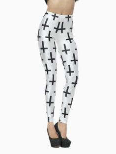Shop White Leggings In Crosses Print from choies.com .Free shipping Worldwide.$13.9