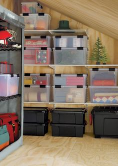 The Container Store > Clear Watertight Totes Spring Cleaning Organization, Storage Room Organization, Basement Storage, Office Storage, Garage Storage, Storage Boxes, Organization Ideas, Workshop Organization, Attic Spaces