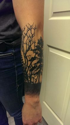 Forest silhouette half sleeve Diversity design tattoo Eric Franklinville, New York Proteinkween.tumblr.com submitted by http://proteinkween.tumblr.com