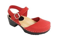 Swedish Clogs : Soft Sole Mary Jane Style Clog in Red Leather UK 7 EUR 40: Amazon.co.uk: Shoes & Bags