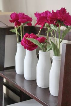 "Paint them white - DIY - Upcycling Mini Milk Bottle Vases using ""Starbucks Frappuccino"" iced coffee bottles or Ikea milk bottles & Krylon's Indoor / Outdoor Spray Paint Step-by-Step Tutorial. Starbucks Glass Bottles, Starbucks Bottle Crafts, Mini Milk Bottles, Wine Bottle Crafts, Beer Bottles, Starbucks Frappuccino, Frappuccino Bottles, Starbucks Coffee, Outdoor Spray Paint"