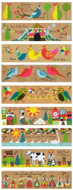 Lisa Congdon : 12 Days of Christmas ornaments for Land of Nod. ---Her ability to communicate who she is to the masses along with the fact that it feels genuine is always so impressive. Christmas Design, Christmas Art, Vintage Christmas, Christmas Holidays, Christmas Decorations, Christmas Ornaments, Christmas Scenes, Twelve Days Of Christmas, Christmas And New Year