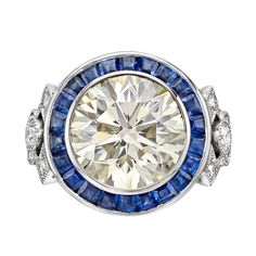 Raymond C. Yard 8.02 Carat Round Brilliant Diamond Engagement Ring with Sapphires