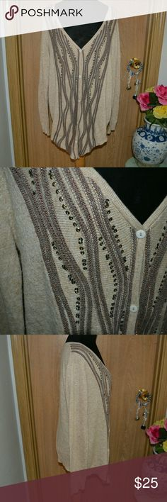 HUGE SALE! Alberto Makali Angora soft cardigan Smoke FREE home! Buy 3 Get one FREE! I ship Monday-Friday!   A gorgeous super soft long sleeved button down sparkly beaded  cardigan size large. Materials 40% polyester 30% acrylic 25% nylon 5 % angora dry clean only. In good Condition. INVENTORY Blusas B BIN Alberto Makali Sweaters Cardigans