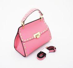 Kelly Stud Korean Bag, stylish cantik. Good quality. Bisa tenteng dan tali panjang selempang. Warna pink. Uk 24x11x16