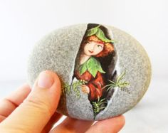 Painted stone. Express Free shipping Little elf by sabiesabi