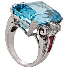 Retro Aquamarine, Diamond, Ruby and Platinum Ring | From a unique collection of vintage cocktail rings at https://www.1stdibs.com/jewelry/rings/cocktail-rings/
