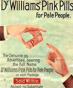 Too pale? Need that healthy rosy glow? Try Dr. William's Pink Pills! 1890's Patent Medicine advertisement...looks like a display meant for drug store windows.