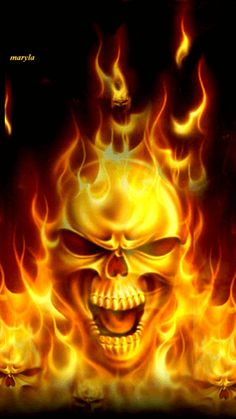 SKULL ON FIRE_FLAMES GIF