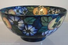 Charlotte Rhead |Bursley Ware 29 Purple Grapes 'Pomona' Fruit Bowl | Produced for Bursley Ware (at Wood & Sons) in the early 1920s,