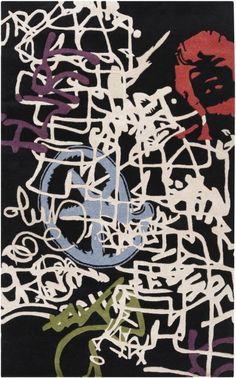 Bold Graffiti Patterned Rug From Suryas Lies Collection By Tucker Farrell