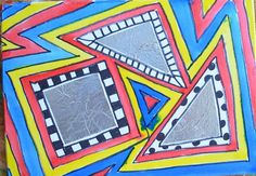 2nd grade art | 2nd grade Art Lesson ideas / Geometric Foil Shapes