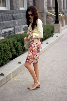 A floral pencil skirt + a crisp blouse is a perfect spring work look