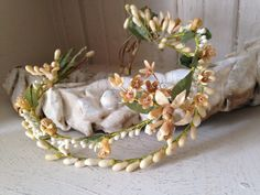 antique French wax bridal crown by histoireancienne on Etsy
