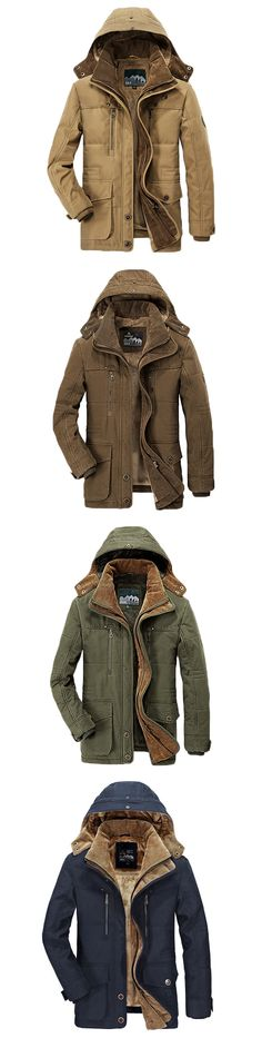 US$81.88 Winter Thicken Warm Multi Pockets Solid Color Detachable Hood Jacket for Men