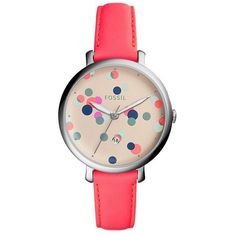 Fossil Jacqueline Three-Hand Neon Coral Leather Strap Watch (75 CAD) ❤ liked on Polyvore featuring jewelry, watches, multi colored jewelry, tri color jewelry, colorful watches, brightly watches and neon watches