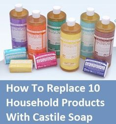 How to replace products with Castile Soap.Did you know it comes from the region of Castile in Espana? Natural Living Ideas on FB. Homemade Cleaning Products, Natural Cleaning Products, Household Products, Natural Products, Natural Cleaning Recipes, Household Items, Cleaners Homemade, Diy Cleaners, Household Cleaners