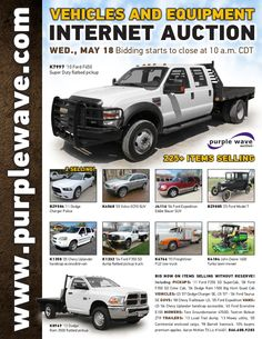 Vehicles and Equipment Auction May 18, 2016 http://purplewave.com/a/160518