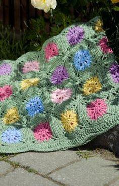 Crochet Flower Field Free Afghan Pattern from Red Heart Yarns
