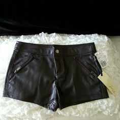 NWT faux leather shorts! Brand new; only tried on. I purchased these from another Posher, but can't get it past my behind. Really love these, but they're too darn cute to sit in my closet and not be worn.    Very deep burgundy black color. Has two functional zipper pockets in front. Zipper and snap button closure. Gorgeous. Firm on price. Shorts