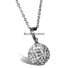 Edelstahl Anhänger Halskette Silber Strass Perle Kugel Charme Elegant Damen