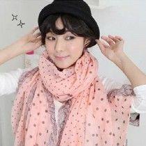 New Lady Women Polka Dot Lace Design Cotton Neck Scarf Wrap Shawl PK