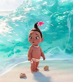 """'Moana' Brings Animated Water To Life Like Never Before - The ocean is a main character in Moana, and you can tell Disney gave it the time it deserved! Photo of """"Baby Moana"""" and the ocean that loves her Moana Disney, Disney Pixar, Disney Animation, Disney Amor, Film Disney, Disney Marvel, Disney And Dreamworks, Disney Movies, Disney Characters"""