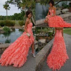 beautiful coral color strapless sweetheart high low organza prom dress gown