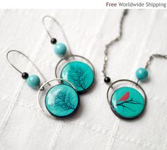 Winter bird Jewelry set - Necklace and Earrings - christmasinjuly CIJ (S016). $45.00, via Etsy.