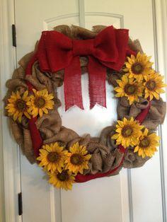 Sunflower burlap wreath by JustBurlapWreaths on Etsy, $55.00