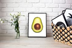 Avocado Art Print Food Art Illustration by mintillustrations