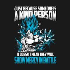 Awesome 'Super+Saiyan+Goku+show+mercy+in+battle+shirt' design on TeePublic!