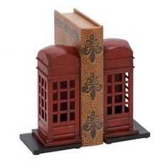 Phone Booth Metal Bookends (Set of 2)