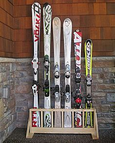 Ski Rack For Garage Freestanding Alpine Ski Storage Rack Six Pair Easier To Make Than The Other One Just Seal The Wood Prior To Assembling So The Parts That Touch The Skis Basement Storage, Garage Storage, Storage Racks, Bra Storage, Storage Ideas, Alpine Skiing, Snow Skiing, Ski Decor, Ski Chalet Decor