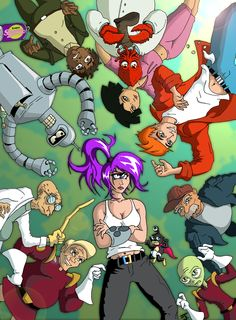 Futurama Anime | fan art los simpsons, futurama, south park, dragon ball