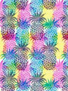 Pineapple CMYK Repeat Art Print  by SchatziBrown #pineapple #tropical #food #recipe