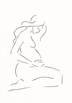 Pregnancy illustration. Minimalist nude sketch  by siret roots. Home decorating ideas.