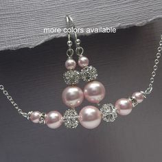CUSTOM COLOR Personalized Bridesmaid Gift Swarovski Light Pink Pearl Necklace and Earring Set, Bridesmaid Jewelry, Maid of Honor Necklace