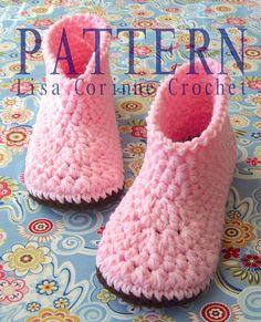 Womens Crocheted Boot Slippers   Modern di LisaCorinneCrochet, $5.95