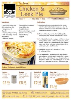 SCCUK is celebrating British Pie week.  As nation of pie fanatics, it often seems that we love nothing better than a wholesome pie. With new research revealing that 75% of people enjoy a pie at least once a month, British Pie Week has been growing every year with pie-eaters everywhere seeking their ultimate pie perfection.  Here's the recipe for one of our favourites - Chicken & Leek Pie.  sccuk.com