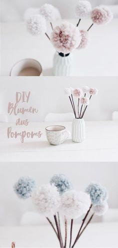 Diy Blumen aus Wolle. Pom Poms selber machen. Dekoration