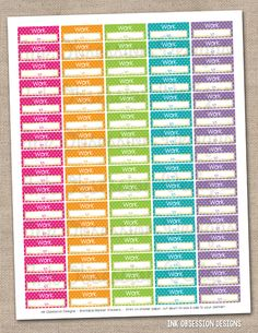 Work Schedule Printable Planner Sticker Instant Download PDF