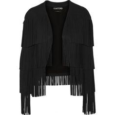 TOM FORD   Fringed stretch-cady jacket (29,190 HNL) ❤ liked on Polyvore featuring outerwear, jackets, tom ford, stretch jacket, fringe jackets and tom ford jacket