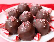 Candy Cane Truffles- I used dark chocolate for these and doubled the peppermint extract. Very creamy and yummy!